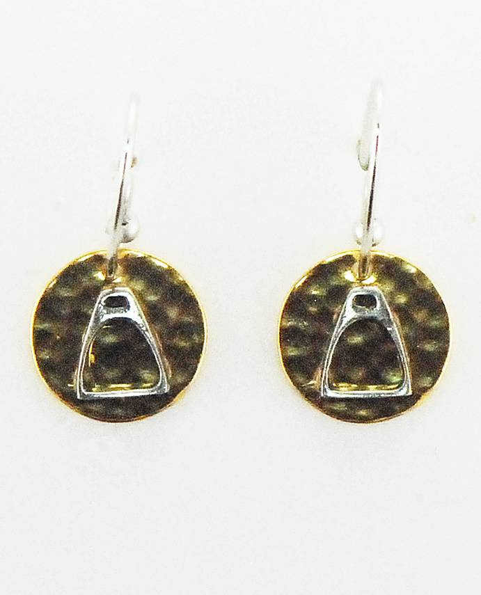 Finishing Touch Stirrup On Hammered Disc French Wire Earrings