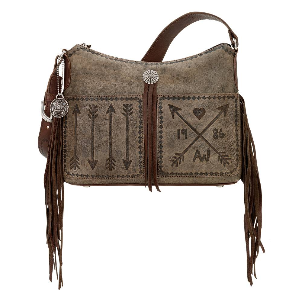 American West Cross My Heart Zip Top Shoulder Bag