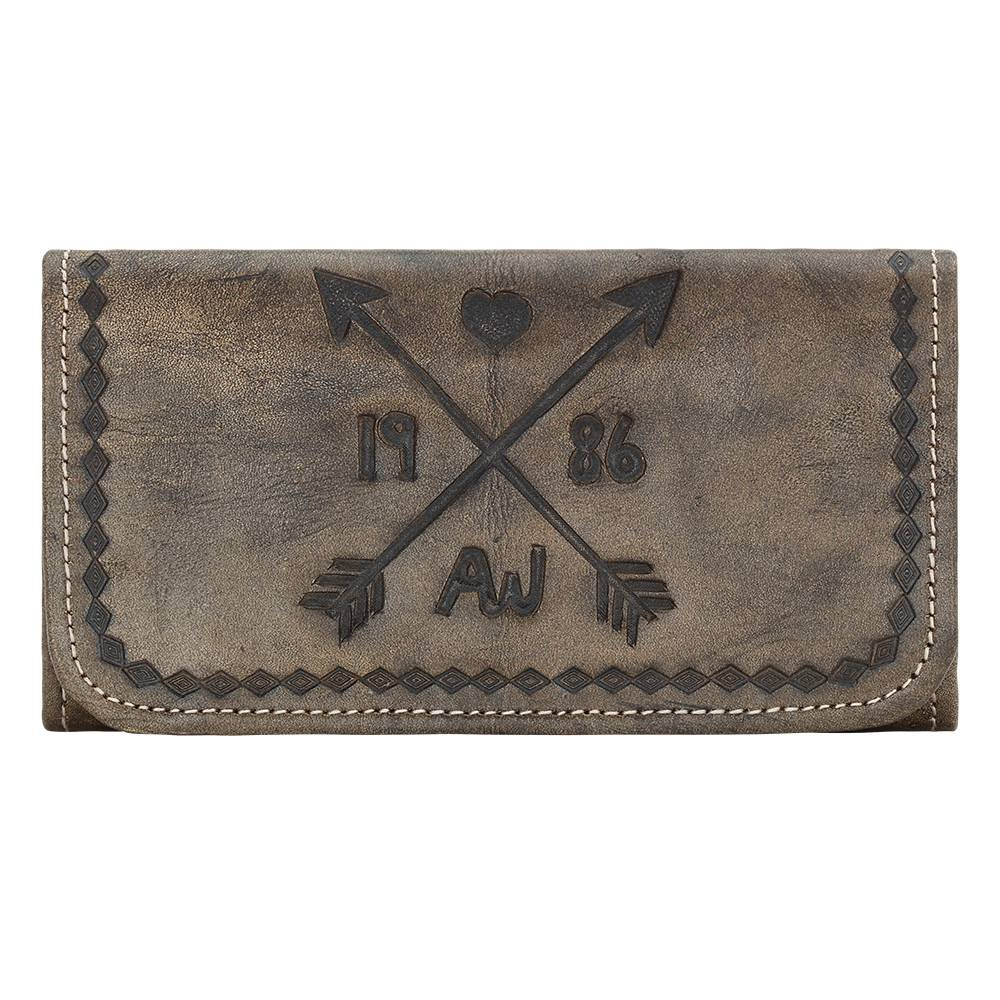 American West Ladies Cross My Heart Tri-Fold Wallet