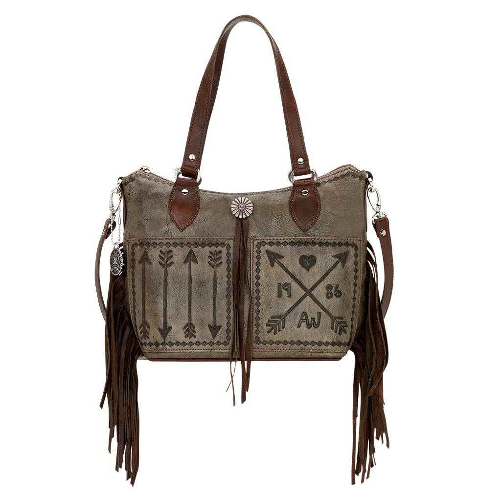 American West Convertible Cross My Heart Zip Top Bucket Tote