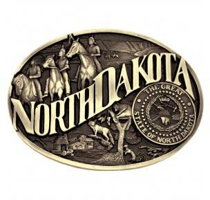Montana Silversmiths North Dakota State Heritage Attitude Buckle