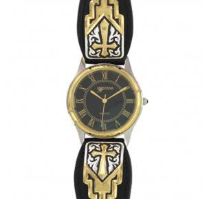 Montana Silversmiths Two Tone Black Leather Cross Watch