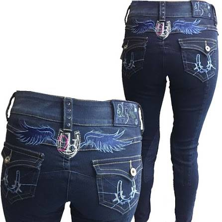 2kGrey Ladies Horse Shoes Knee Patch Breech