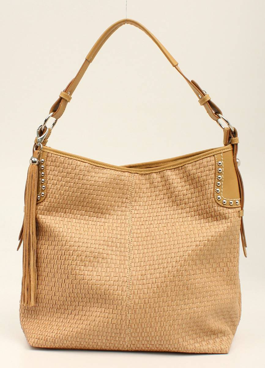 Nocona Annabelle Basketweave Bling And Tassels Shoulder Bag