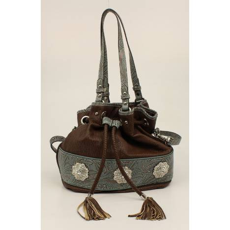Nocona Myra Embossed Fringe And Concho Bucket Bag