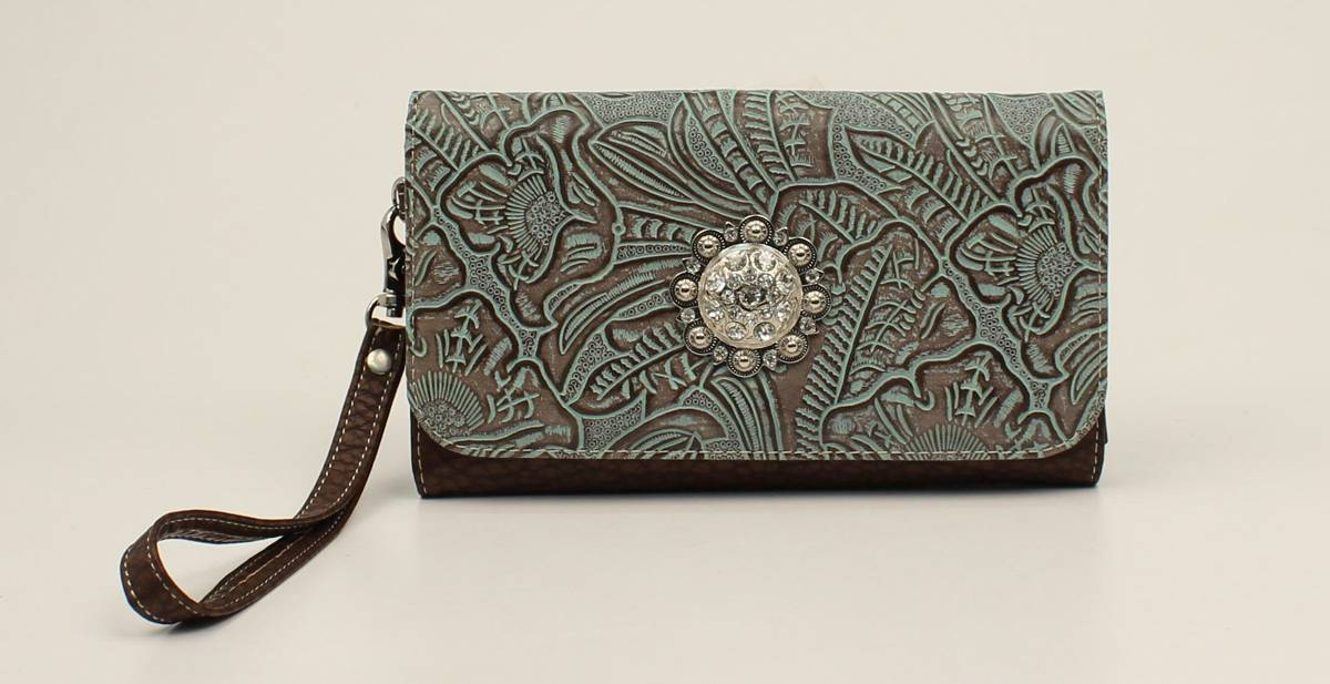 Nocona Myra Embossed Fringe And Concho Clutch