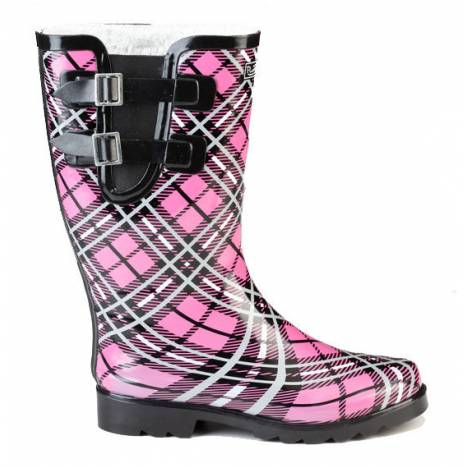 Muck Boots Ladies Cozy Classic Double Strap Puddleton - Pink Plaid