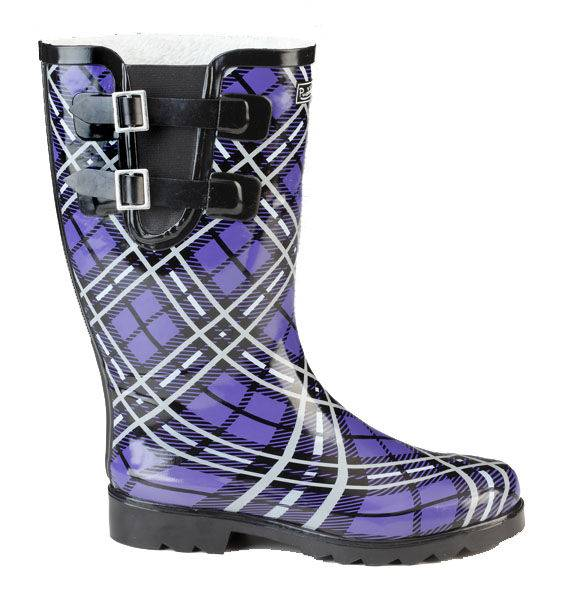 Muck Boots Ladies Cozy Classic Double Strap Puddleton - Purple Plaid