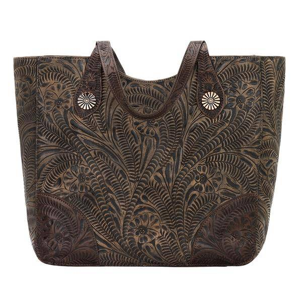 American West Annies Secret Collection Large Hand Tooled Zip Top Conceal Carry