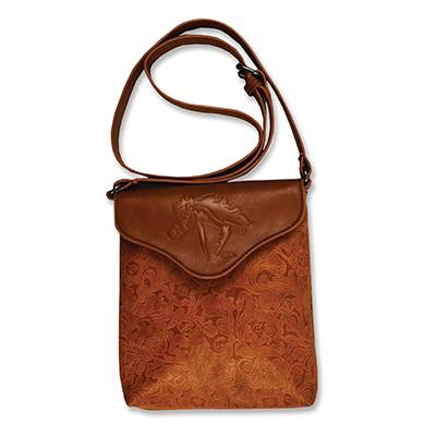 Debossed Horse Leather Look Crossbody Purse