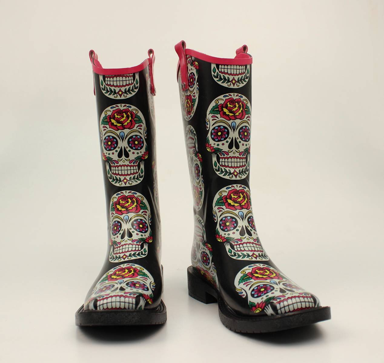 Blazin Roxx Ladies Gwen Rose Skull Square Toe Rain Boots