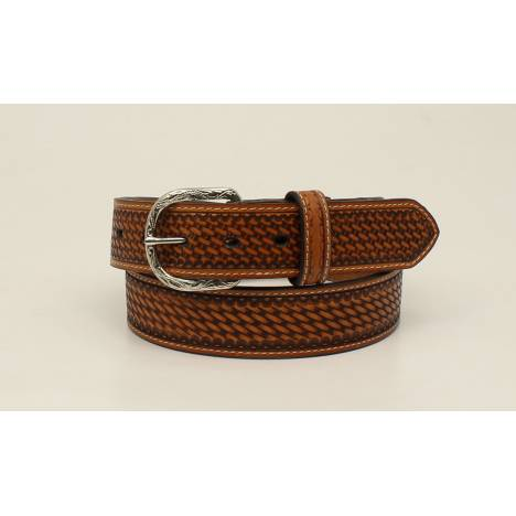 Nocona Mens Top Hand Basketweave Embossed Edged Tab Belt