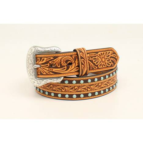 Nocona Mens Embossed Stone Belt With Removable Buckle