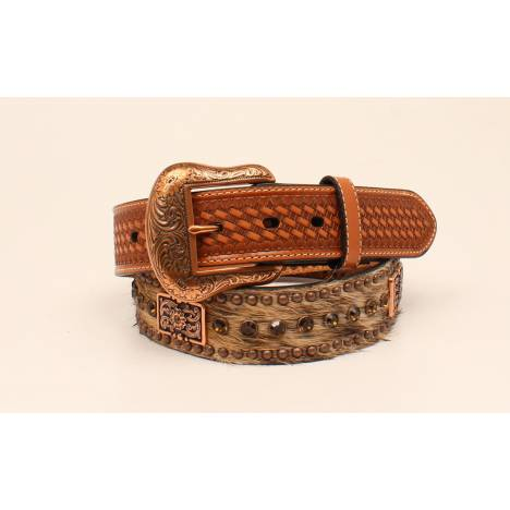 Nocona Mens Hair On Rhinestone And Concho Buckle
