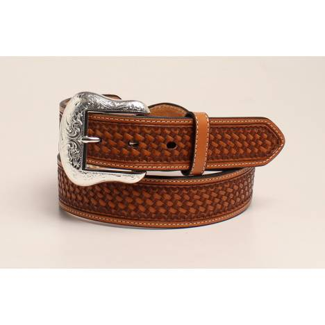 Nocona Mens Silver Bar And Concho Leather Strap Belt