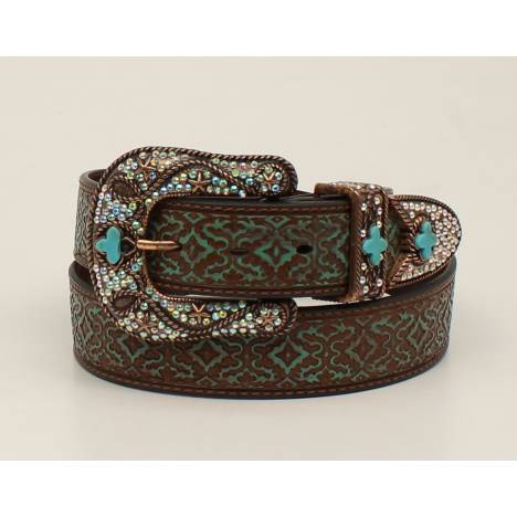 Nocona Ladies Embossed Buckle And Belt Set