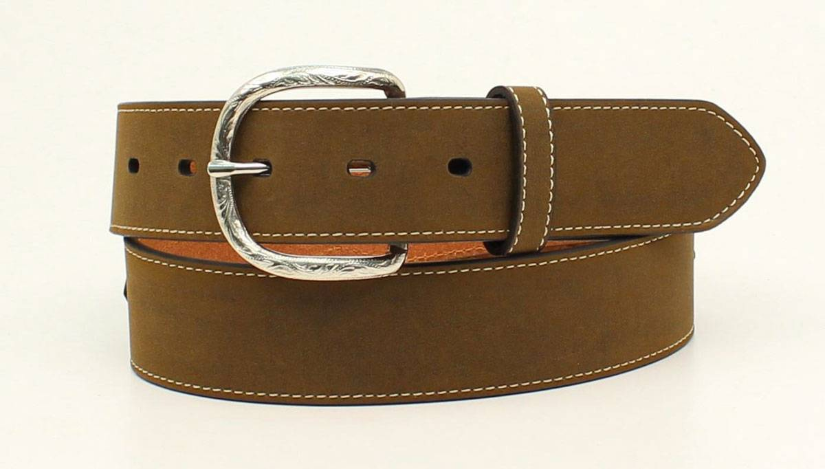Nocona Mens Smooth Laced Overlay Circle Concho Belt