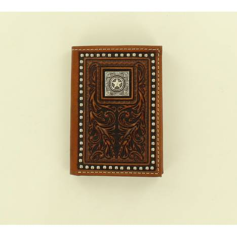 Nocona Scroll Embossed Nailhead Star Concho Tri-Fold Wallet