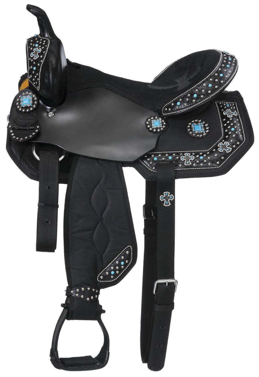 Eclipse by Tough-1 Starlight Collection Turquoise Cross Concho Miniature Trail Saddle