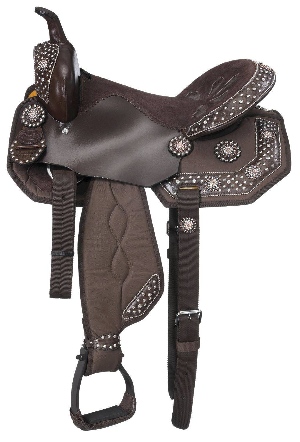Eclipse by Tough-1 Starlight Collection Copper Crystal Concho Miniature Trail Saddle