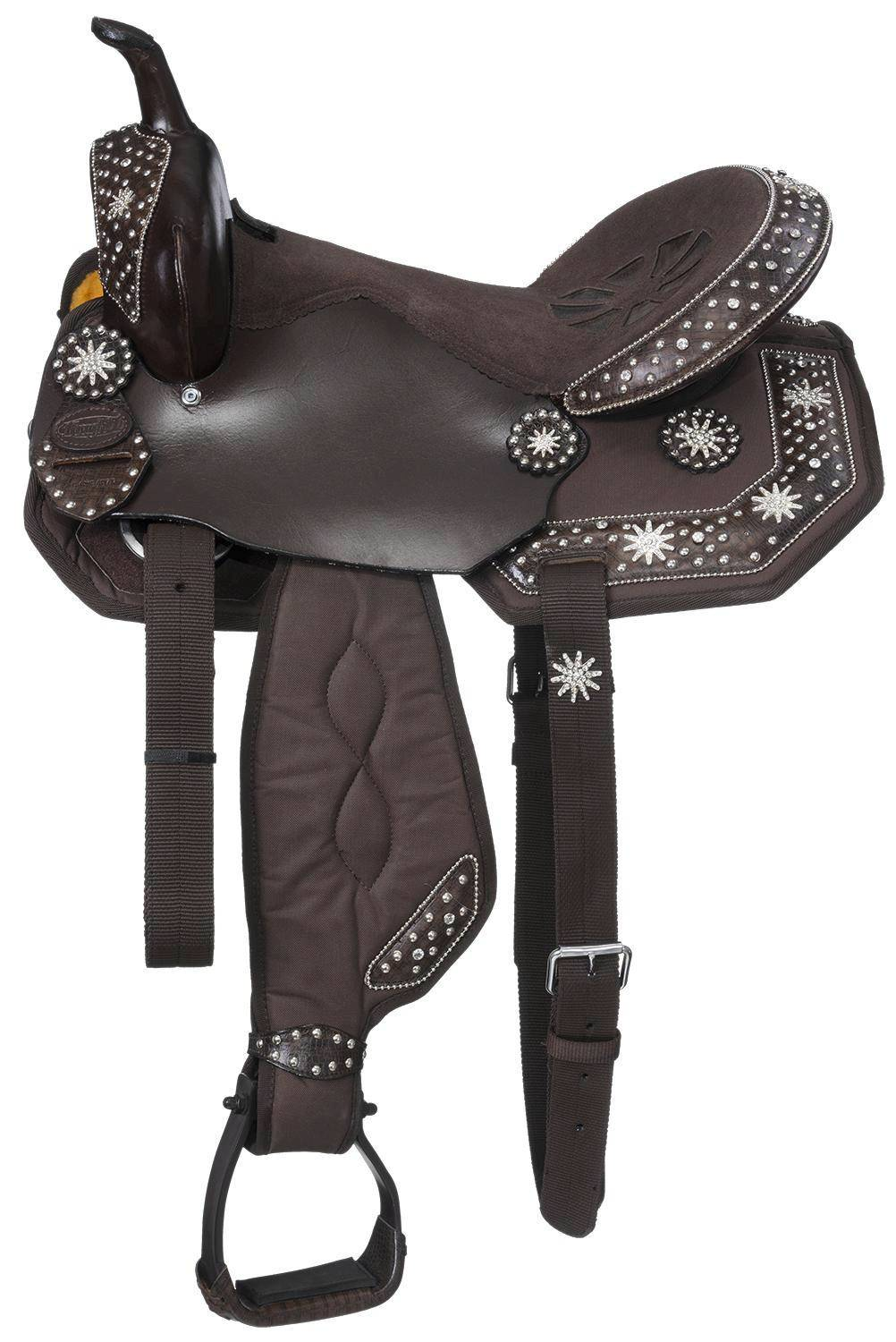 Eclipse by Tough-1 Starlight Collection Spur Rowel Concho Miniature Trail Saddle