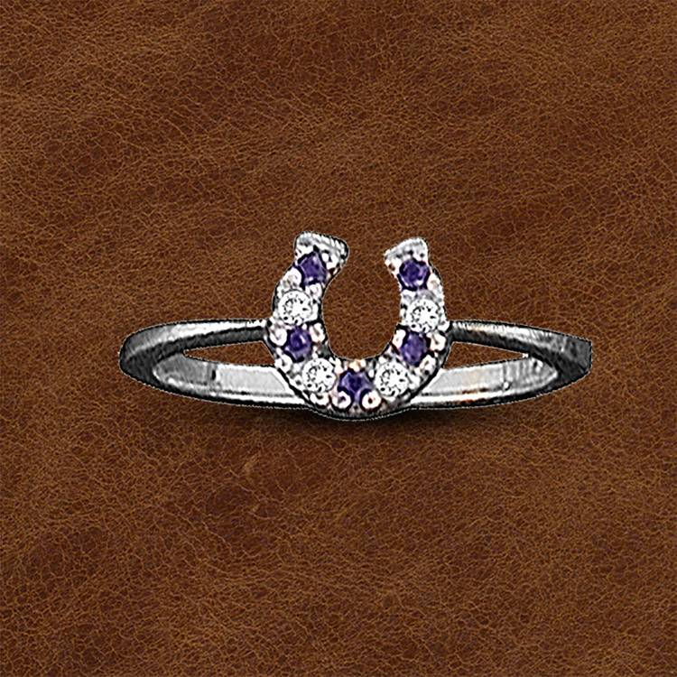 Kelly Herd Silver Horseshoe Ring - Blue