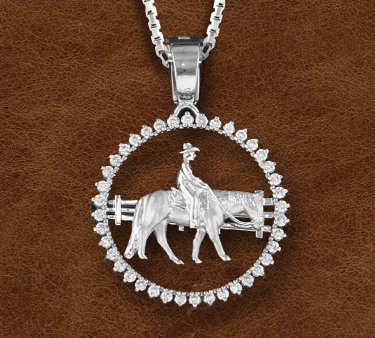 Kelly Herd Silver Western Pleasure Horse And Farmer Pendant