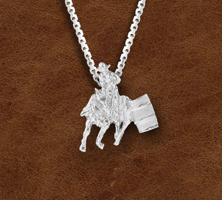 Kelly Herd Silver Barrel Racing Horse And Rider Pendant