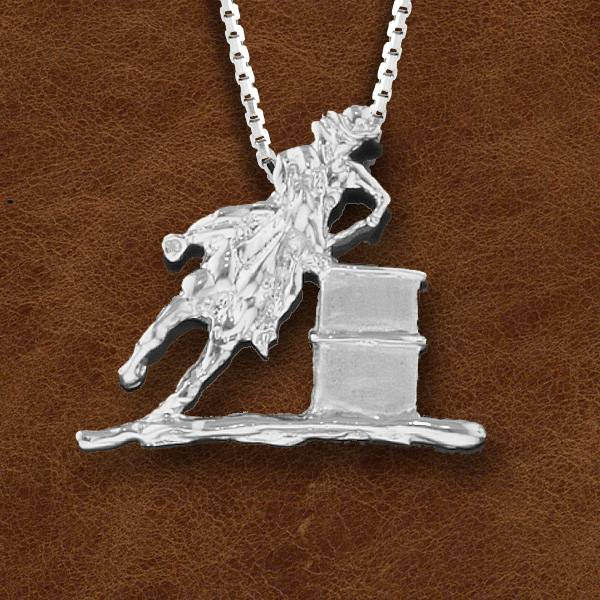 Kelly Herd Silver Barrel Racing Horse And Cowboy Pendant