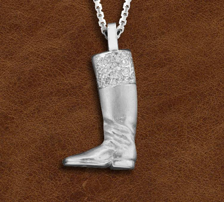 Kelly Herd Silver English Boot Necklace