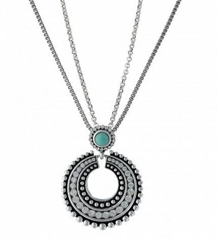 Rock 47 By Wrangler Retro Flair Two Circle Drop Necklace