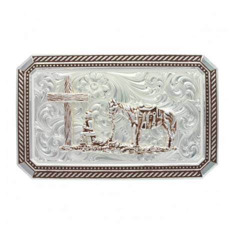Montana Silversmiths Braided Edge Rectangle Christian Cowboy Buckle