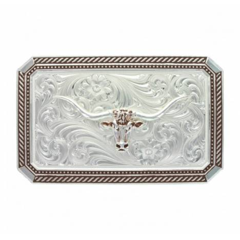 Montana Silversmiths Braided Edge Rectangle Longhorn Buckle