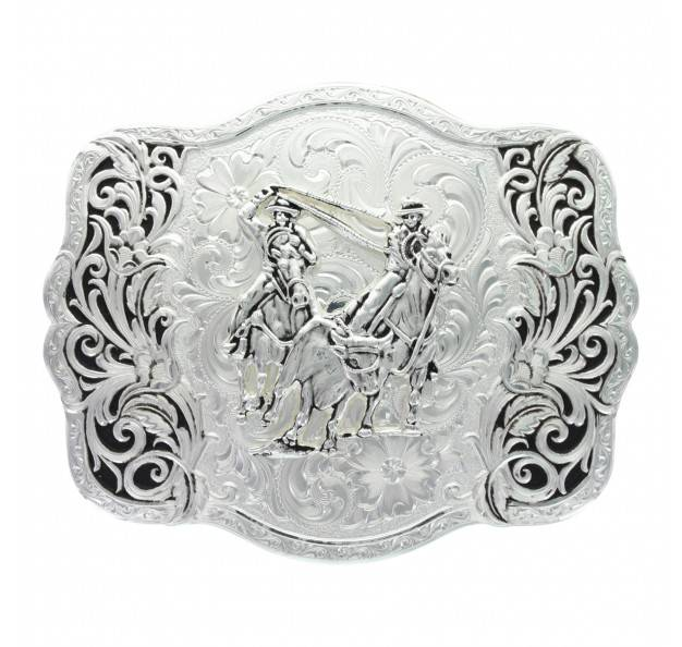 Montana Silversmiths Scalloped Trellis Team Roper Scrolled Buckle