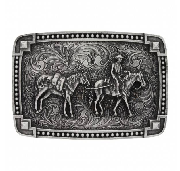 Montana Silversmiths Bead Edge Antique Tied Corners Pack Horse Attitude Buckle
