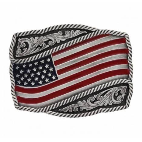 Montana Silversmiths Classic Painted American Flag Attitude Buckle