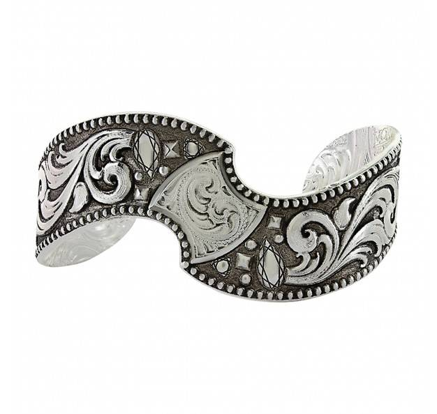 Montana Silversmiths Antique Leaves & Diamonds Twisted Cuff Bracelet