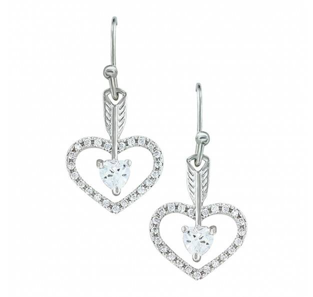 Montana Silversmiths Straight To The Heart Arrow Cubic Zirconia Earrings