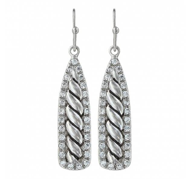 Montana Silversmiths Tapered Twisted Rope Cubic Zirconia Drop Earrings