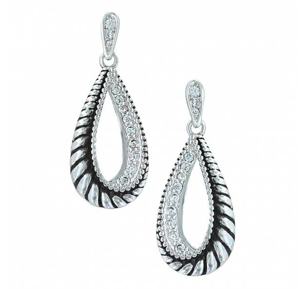 Montana Silversmiths Frosted Rope Twisted Teardrop Earrings