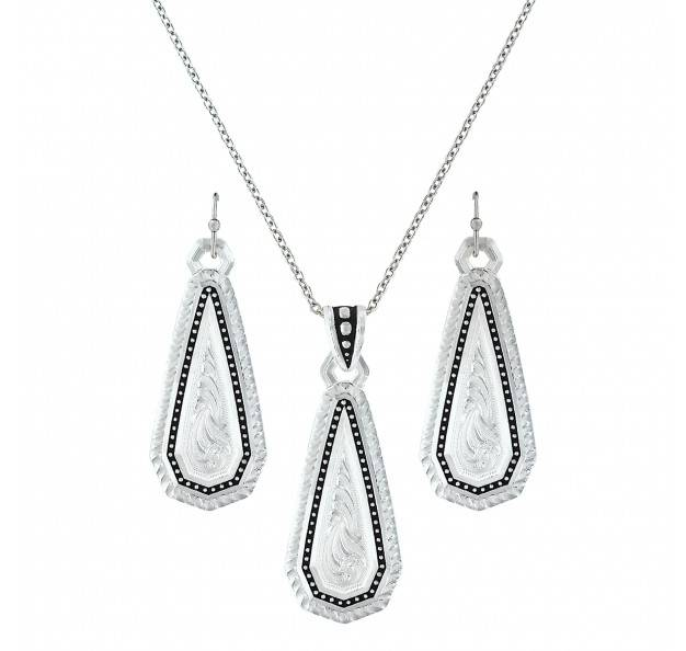 Montana Silversmiths A Fine Stitched Shard Filigree Drop Jewelry Set