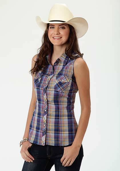 Roper Ladies Western Sleeveless Plaid Shirt - Blue Multi