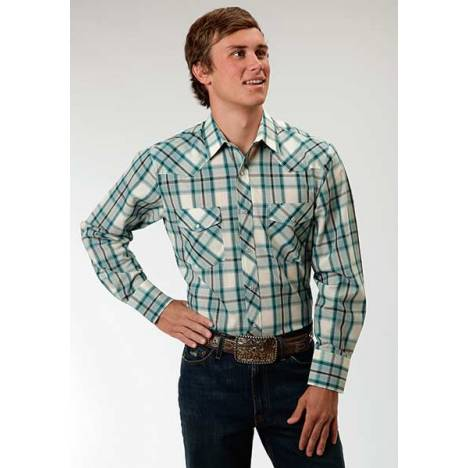 Roper Mens Snap Woven Plaid Western Long Sleeve Shirt - Turquoise
