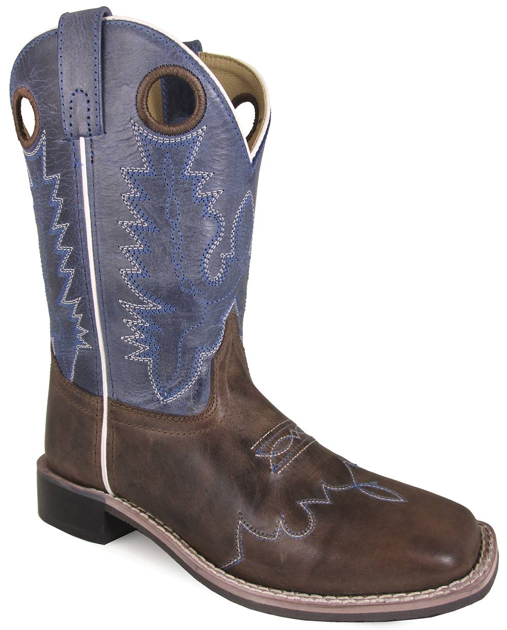 Smoky Mountain Childrens Delta Leather Square Toe Boots - Brown/Blue Crackle
