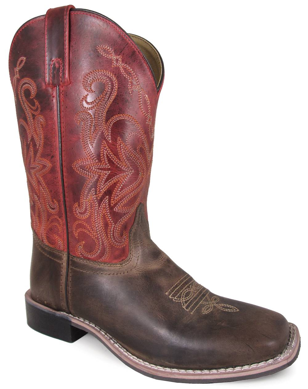 Smoky Mountain Ladies Delta 10'' Leather Square Toe Boot - Brown/Red Crackle