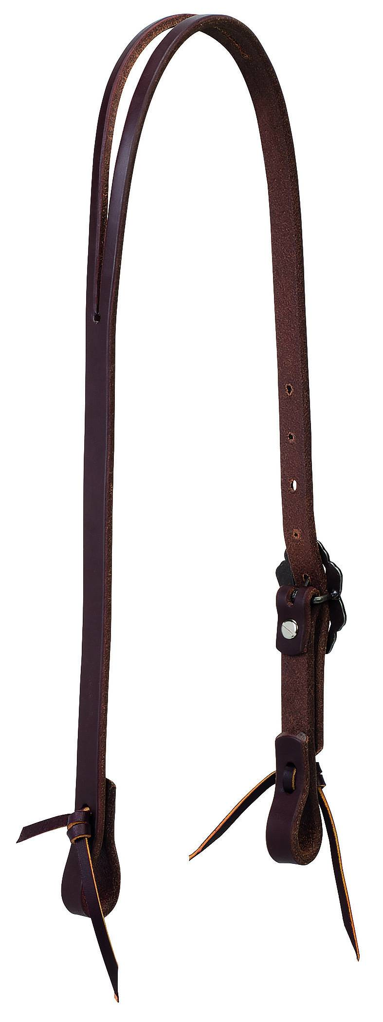Weaver Working Tack Slit Ear Headstall - Buffed Brown Hardware