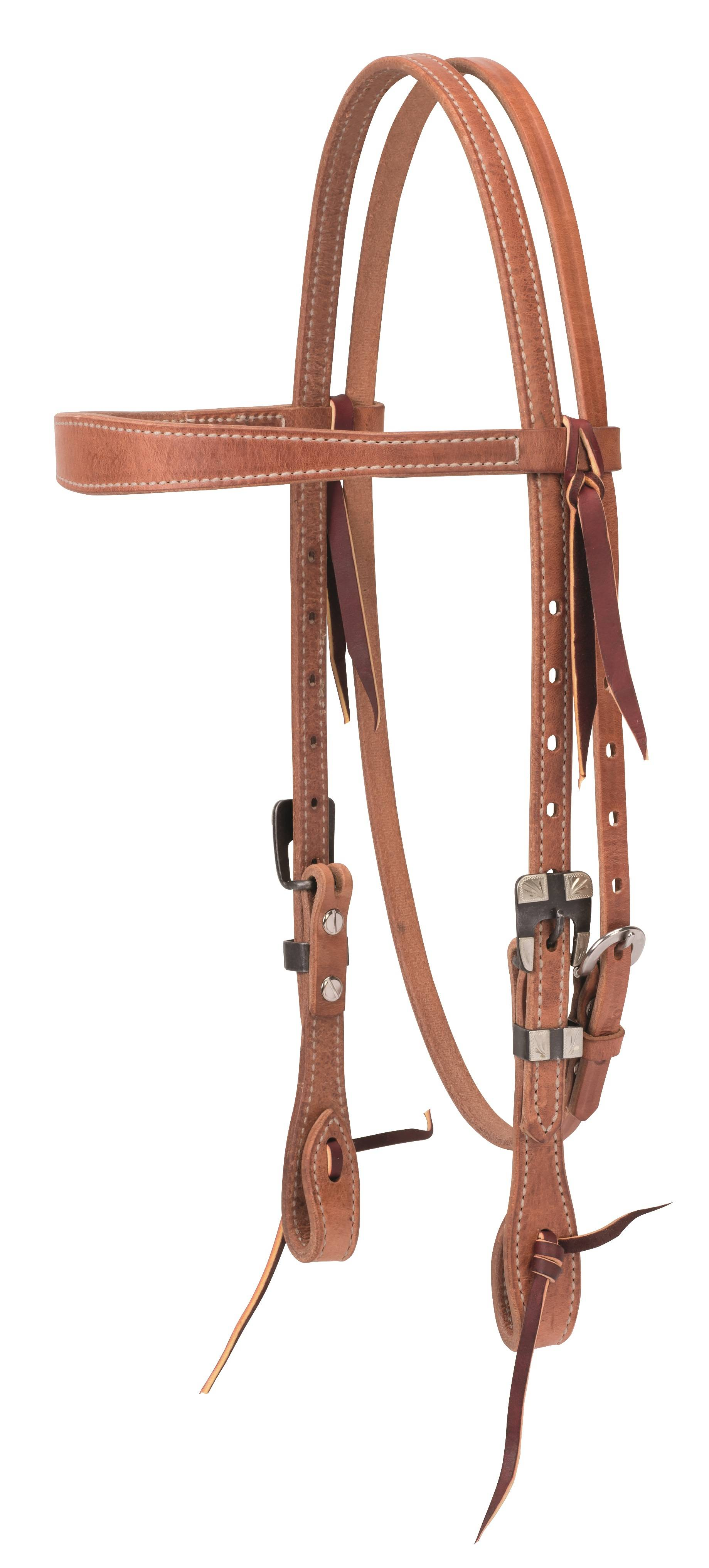 Weaver Prem Harness Leather Slim Cowboy Browband Headstall - Buff Black Hardware