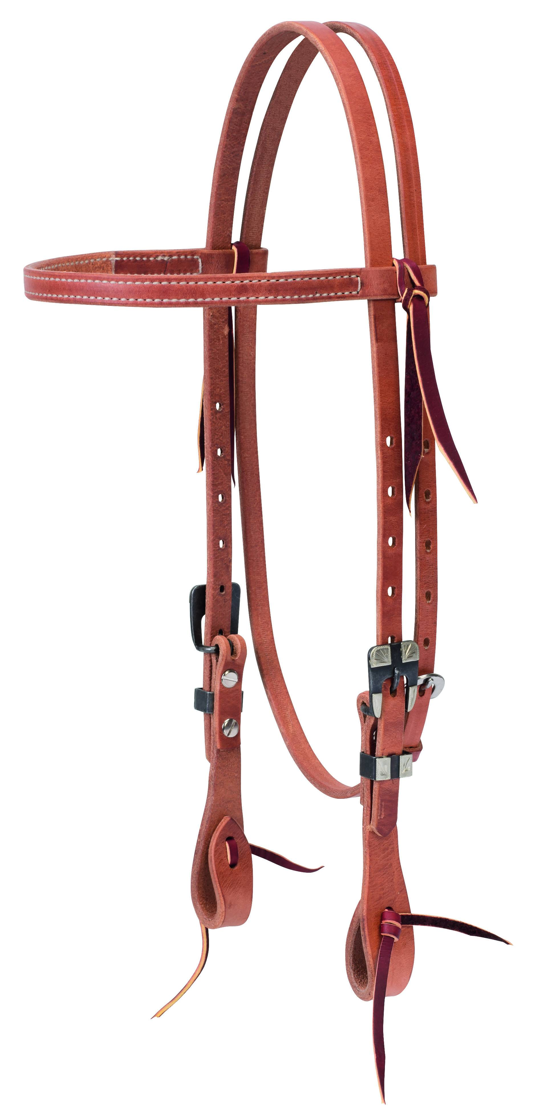 Weaver Prem Harness Leather Straight Browband Headstall - Buff Black Hardware