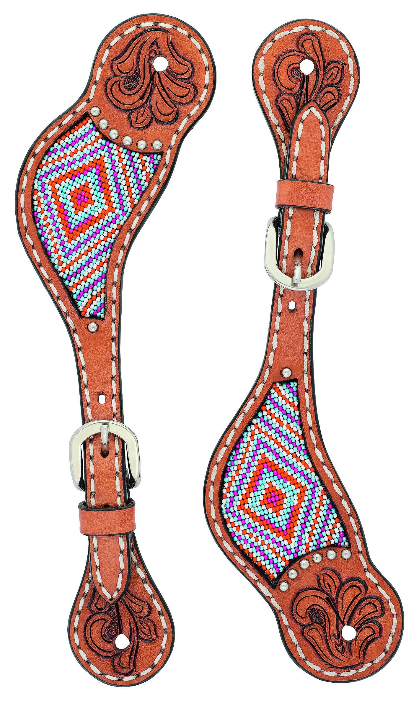 Weaver Ladies Floral Tooled Beaded Spur Straps