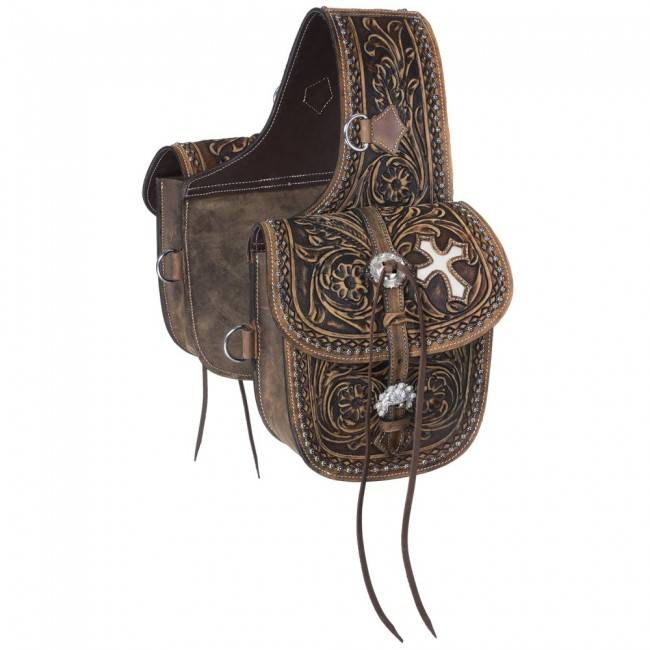 Tough-1 Antique Tooled Leather Saddle Bag